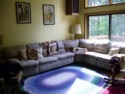 Lakefront Home On Cossayuna Lake Near Saratoga Springs,ny, living room with 22 foot cathedral ceiling, on Cossayuna Lake in New York - Vacation Rental - Home for rent on LakeHouseVacations.com