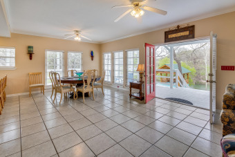 Lake House Guadalupe Riverfront on 1 acre, wrap around porches, pavilion, kayaks & more!, , on Guadalupe River in Texas - Lakehouse Vacation Rental - Lake Home for rent on LakeHouseVacations.com