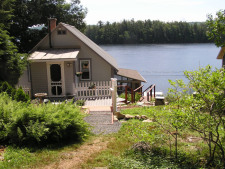Lake House Victorian Lakefront Cottage With Spectacular Sunrise View Of Water, View of Loon Lodge from Rear Parking Area, on Spofford Lake in New Hampshire - Lakehouse Vacation Rental - Lake Home for rent on LakeHouseVacations.com