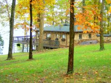 Lake House Unique Stone Cottage - Lakefront - Amazing View - Bald Eagle Viewing From The Deck, Autumn on Kentucky Lake, on Kentucky Lake in Kentucky - Lakehouse Vacation Rental - Lake Home for rent on LakeHouseVacations.com