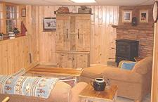 Lake House Luxurious Lakeside Retreat , Daylight basement is finsihed with foosball and TV for the kids., on Cold Stream Pond in Maine - Lakehouse Vacation Rental - Lake Home for rent on LakeHouseVacations.com