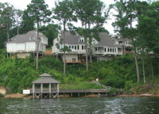 Lake House Many, La  Rental Toledo Bend Villa At Cypress Bend Resort, Waterfront Villa 1 is on the left, on Toledo Bend Reservoir in Louisiana - Lakehouse Vacation Rental - Lake Home for rent on LakeHouseVacations.com