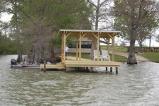 Lake House Netterville Landing - The Guest House, New pier as seen from Lake Bruin, on Lake Bruin in Louisiana - Lakehouse Vacation Rental - Lake Home for rent on LakeHouseVacations.com