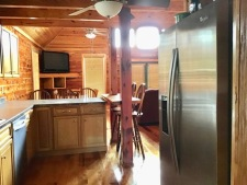 Lake House Southern Cedar Log Cabin New 2015, another view of kitchen, on Lake Barkley in Kentucky - Lakehouse Vacation Rental - Lake Home for rent on LakeHouseVacations.com