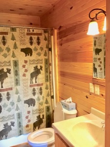 Lake House Southern Cedar Log Cabin New 2015, upstairs bath, on Lake Barkley in Kentucky - Lakehouse Vacation Rental - Lake Home for rent on LakeHouseVacations.com
