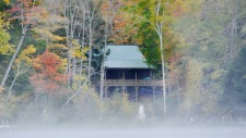 Lake House Log House Maine Lake Shore Boats Fishing Swim Spa, Water view, early morning mist rising., on Sand Pond in Maine - Lakehouse Vacation Rental - Lake Home for rent on LakeHouseVacations.com