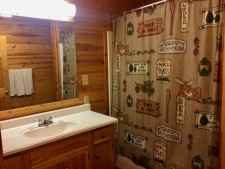 Lake House One Of A Kind Cedar Log Home, upstairs bathroom, on Lake Barkley in Kentucky - Lakehouse Vacation Rental - Lake Home for rent on LakeHouseVacations.com