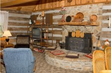 Lake House Log Cabin & Private Lake With Great Fishing, The living room is spacious and comfy., on Timberline Lake in Indiana - Lakehouse Vacation Rental - Lake Home for rent on LakeHouseVacations.com