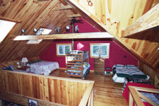 Lake House Bowerbank Maine Vacation Rental Chalet Style House On Sebec Lake, loft beds, on Sebec Lake in Maine - Lakehouse Vacation Rental - Lake Home for rent on LakeHouseVacations.com