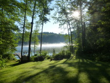 Lake House Log House Maine Lake Shore Boats Fishing Swim Spa, Early morning mist on the pond, just as sun rises.  Great time for bird watching., on Sand Pond in Maine - Lakehouse Vacation Rental - Lake Home for rent on LakeHouseVacations.com