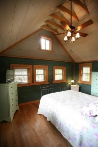 Lake House Adirondack Lakefront Log Cabin, Master Bedroom, on (private lake/pond) in New York - Lakehouse Vacation Rental - Lake Home for rent on LakeHouseVacations.com